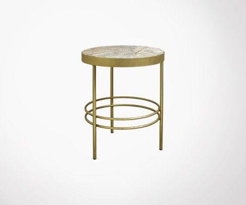 Table d'appoint antique métal doré et marbre JUNGLE - Nordal