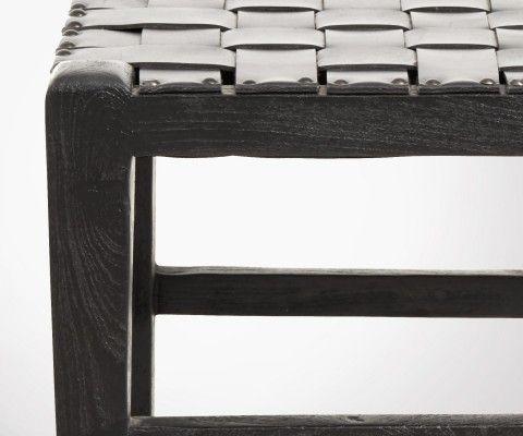 Tabouret bois 44cm assise cuir SQUIK - Nordal