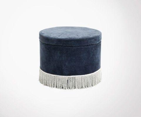 Pouf design vintage velours et franges GILLET - Nordal
