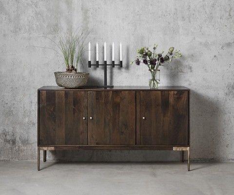 Enfilade vintage bois foncé pieds laiton DROOK - Nordal