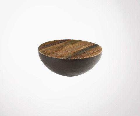 Grande table basse demi sphère métal et bois BOULD - 90 cm