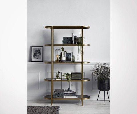 Grande étagère 190cm laiton verre style art déco GOLDIN - Nordal