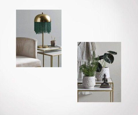 Tables gigognes marbre blanc métal doré BRASSORK - Nordal