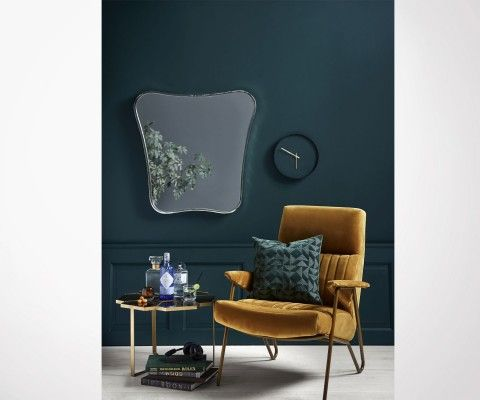 Table basse 90cm laiton verre FLEURS - Nordal