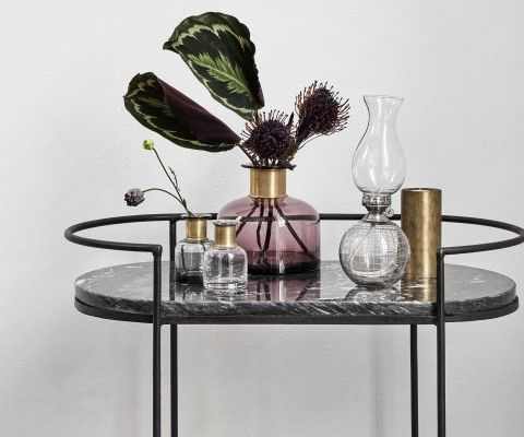 Table d'appoint ovale marbre noir 74cm MIDNIGHT - Nordal