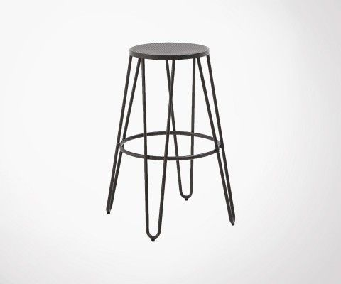 Bar stool black metal 76cm OHIO