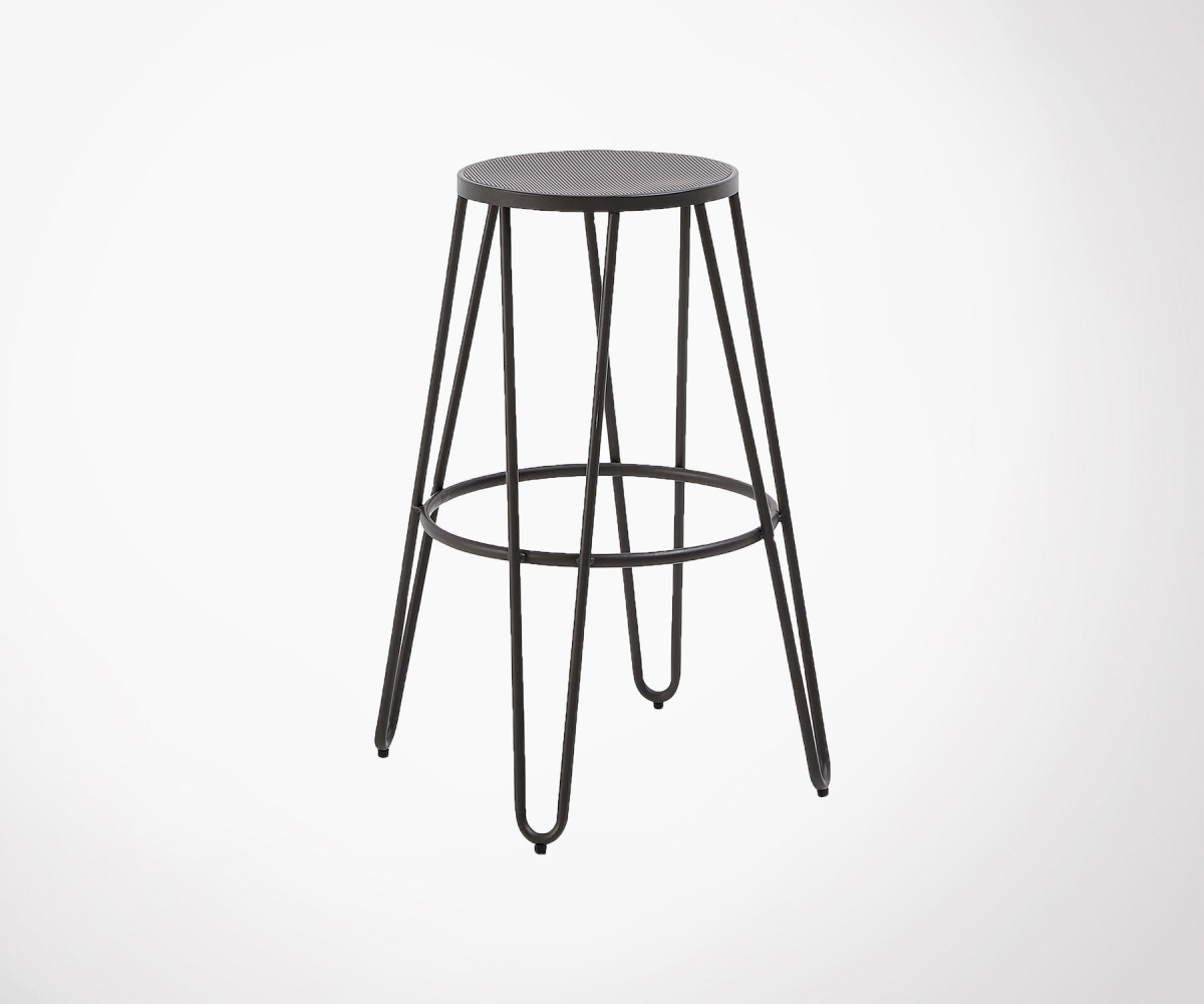 Tabouret métal noir empilable design moderne industriel a87c57216733
