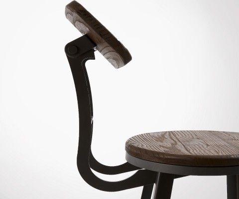 Tabouret de bar bois métal 104cm BUSTER