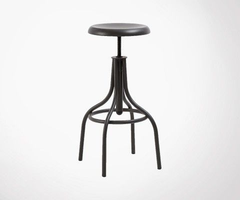 Tabouret bar assise réglable style industriel HANSFIELD
