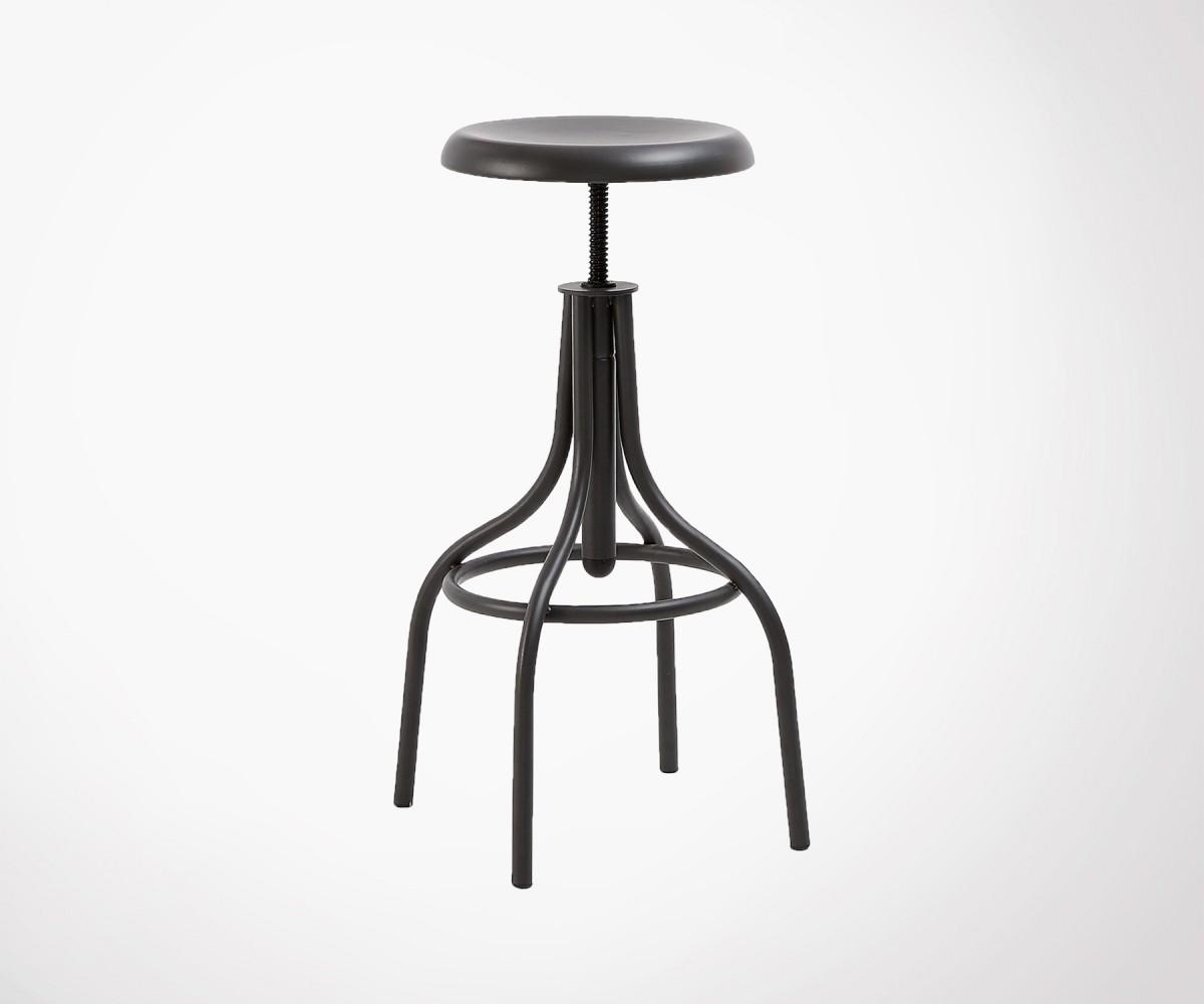 Tabouret Bar Assise Reglable 61 77cm Metal Noir Style Industriel