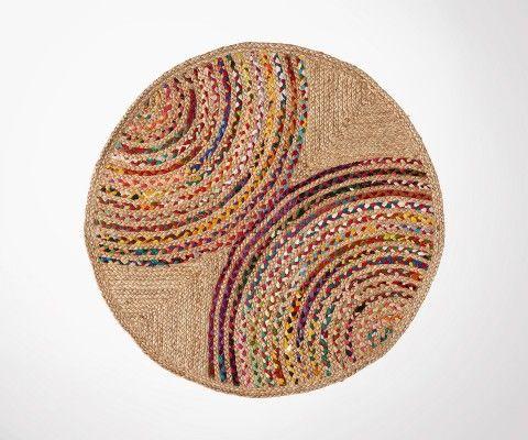 Bohemian design round rug 100cm BRIELLA