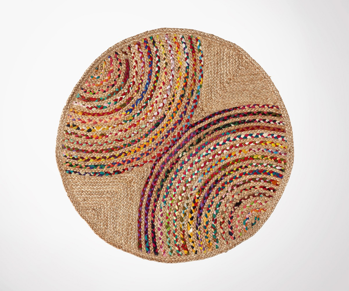 tapis rond 100cm jute naturel et coton multicolors style. Black Bedroom Furniture Sets. Home Design Ideas