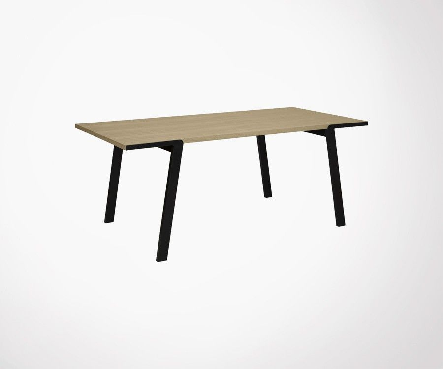 Table Salle A Manger Design Minimaliste Bois Metal Marque Temahome