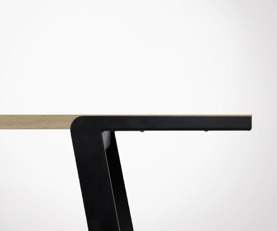 Table salle à manger plateau bois pieds métal DRIFT