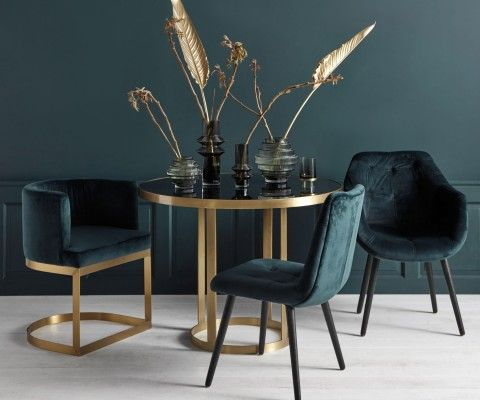 Table à manger métal doré plateau verre GOLDENA - Nordal