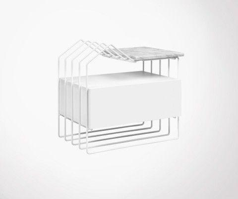 Table de chevet plateau marbre structure metallique DOMI