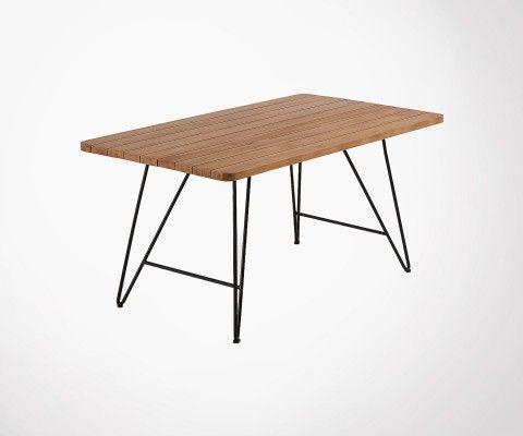 Table à manger int/ext 160cm teck massif CHORRE