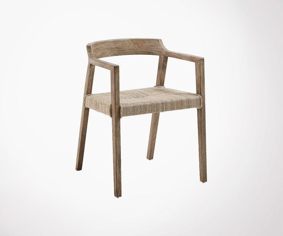 Chaise design teck rustique ROTENA