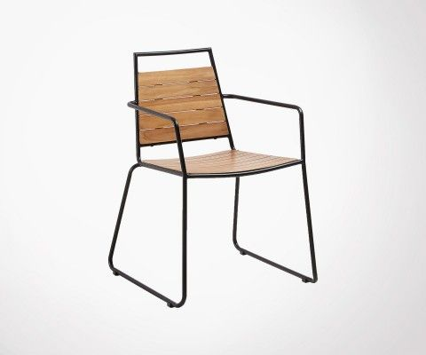 Metal and solid teak garden chair VOVE