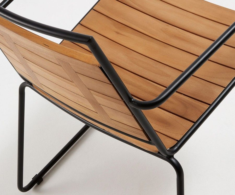 Chaise de jardin métal teck massif VOVE