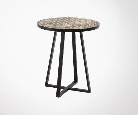 Small dining table round mosaics marble PAU