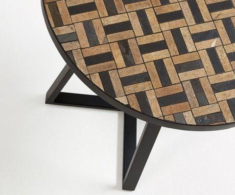 Petite table à manger ronde mosaïques marbre PAU