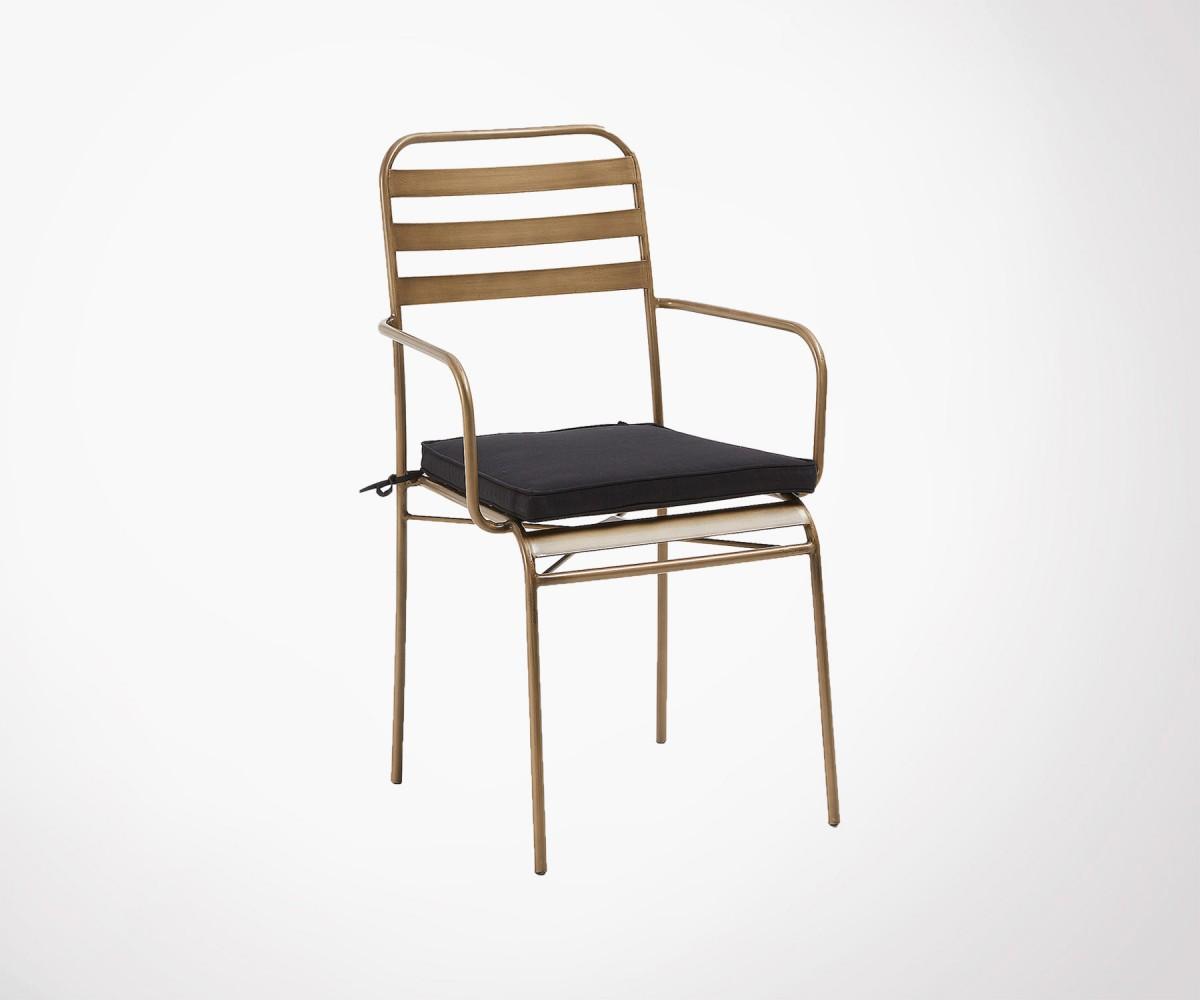 Doré Café Métal Chaise Moderne De Jardin Style Empilable Design qpMSVzU
