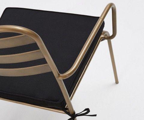 Chaise de jardin empilable métal doré LUKANZ - avec coussin