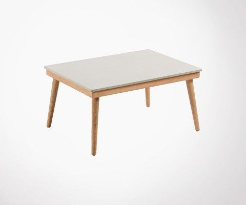 Coffee table int / ext solid wood cement top SIKAZ