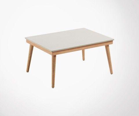 Table basse int/ext bois massif plateau ciment SIKAZ