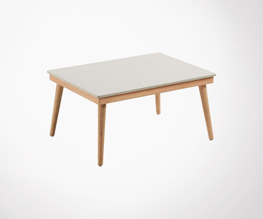 Table basse int/ext bois massif plateau ciment SIKAZ