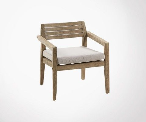 Solid wood armchair int / ext with cushion GRENNE