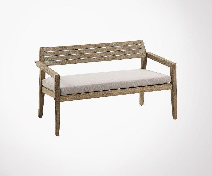 Canapé 2 places bois massif int/ext avec coussin GRENNE