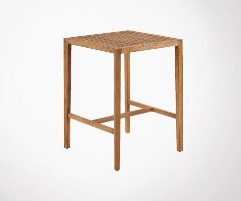Petite table haute carrée int/ext 80x80cm bois massif PALPATINE