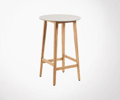Petite table de bar 70cm ronde bois massif ciment FLUGI