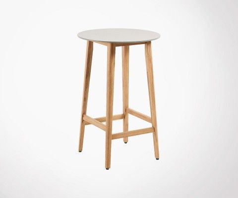 Small bar table 70cm round solid wood cement FLUGI