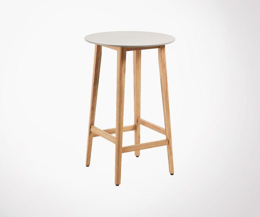 Petite Table De Bar 80cm Plateau Ciment Et Pied Bois Massif Eucalyptus