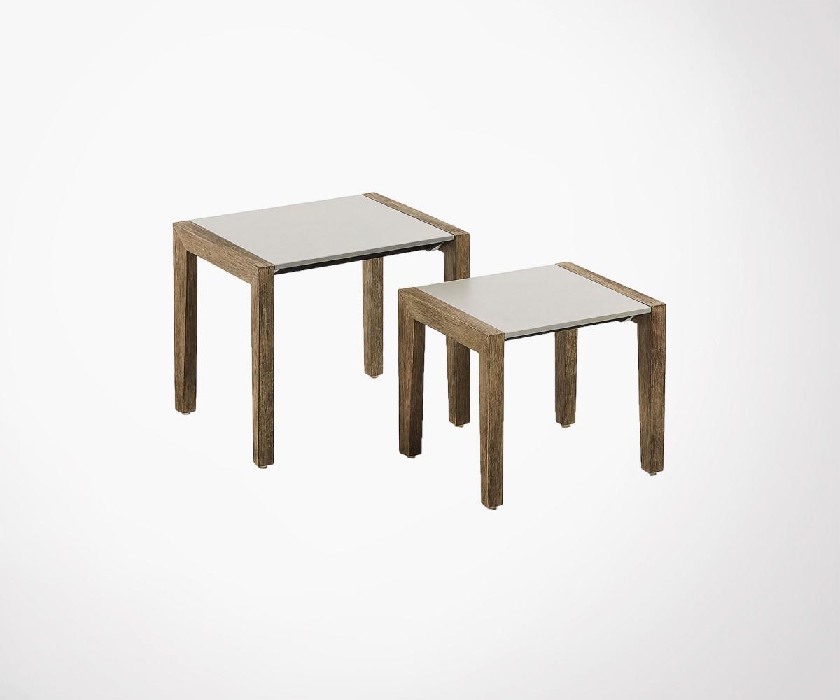 Tables gigognes bois massif et plateau ciment. Table int/ext à voir !