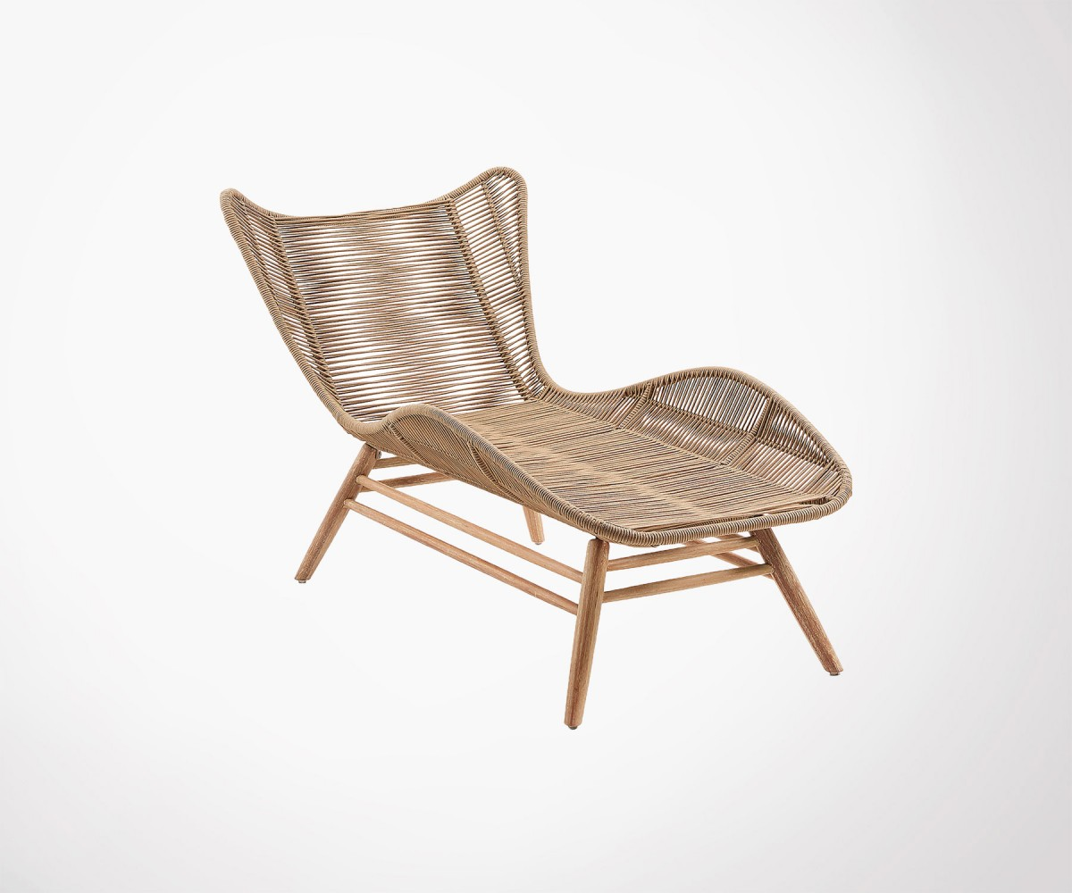 chaise longue de jardin bois massif eucalyptus et corde. Black Bedroom Furniture Sets. Home Design Ideas