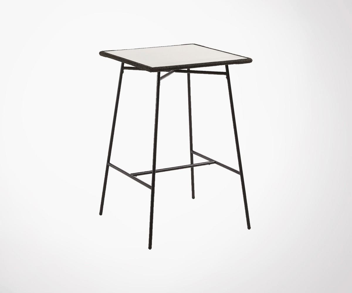 Table haute de jardin en polyciment acier et pvc style moderne