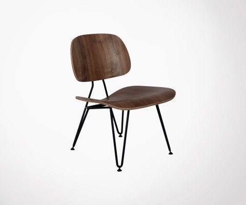 Metal walnut lounge chair PLYWOOD