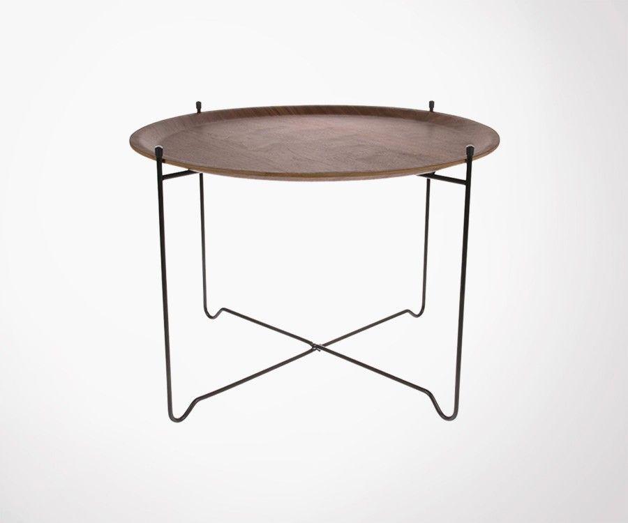 Table basse métal noir plateau amovible noyer JOEY - HK Living