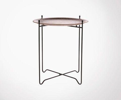 Table d'appoint métal noir plateau amovible noyer JOEY - HK Living