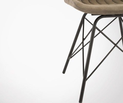 Chaise salle à manger tissu kaki métal SOLDIER - J-line