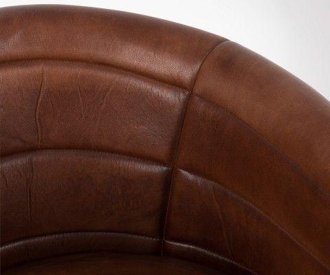 Chaise de bureau rétro cuir cognac MIES - J-Line