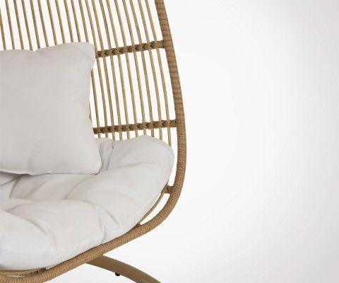 Chaise suspendue effet rotin avec coussins YUL - J-line