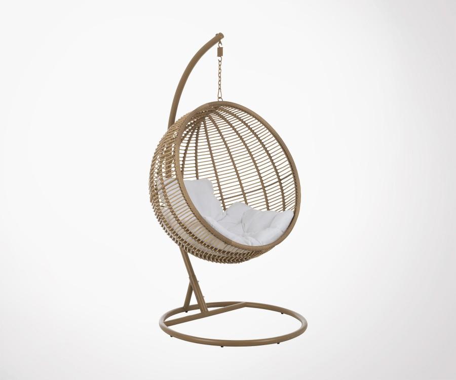 fauteuil boule suspendue effet rotin avec coussins marque j line. Black Bedroom Furniture Sets. Home Design Ideas