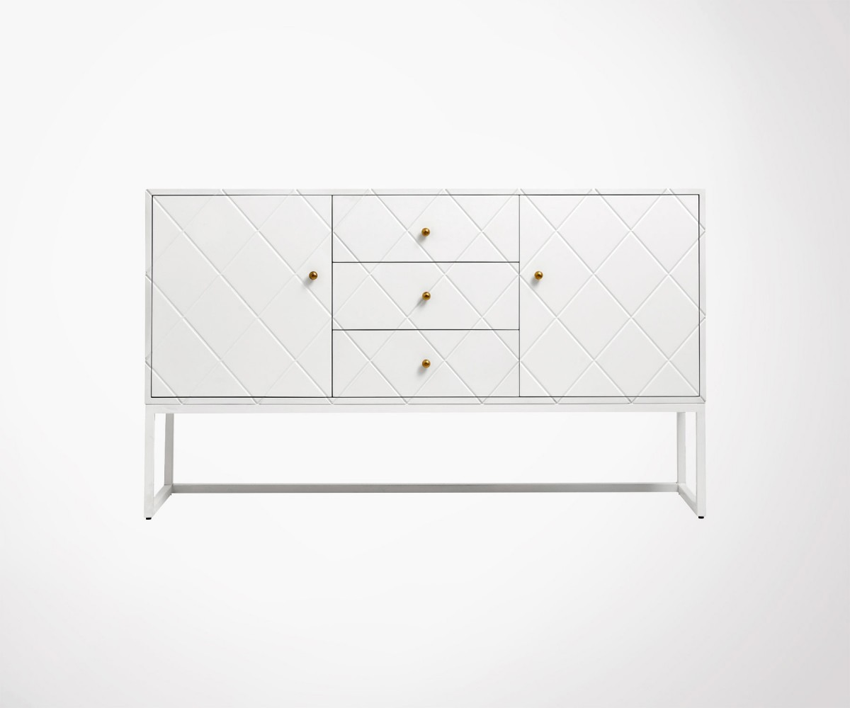 Objet Deco Laque Blanc buffet design avec tiroirs 150cm style art déco bayo - nordal