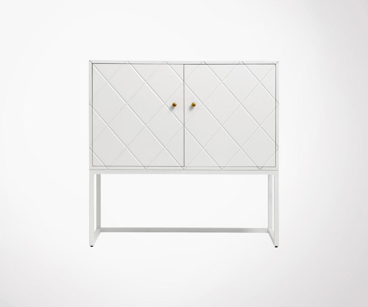 Objet Deco Laque Blanc petit buffet design style art déco bayo - nordal