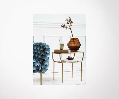 Table d'appoint design fer et verre MALONE - Nordal